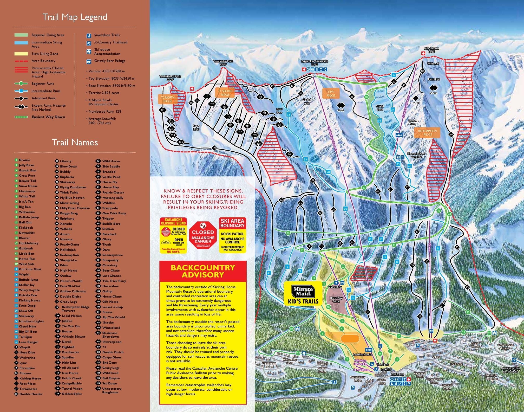 Kicking Horse Trailmap
