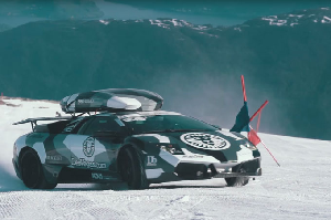 What it's like to Drive a Lamborghini Through Ski Race Gates – Video