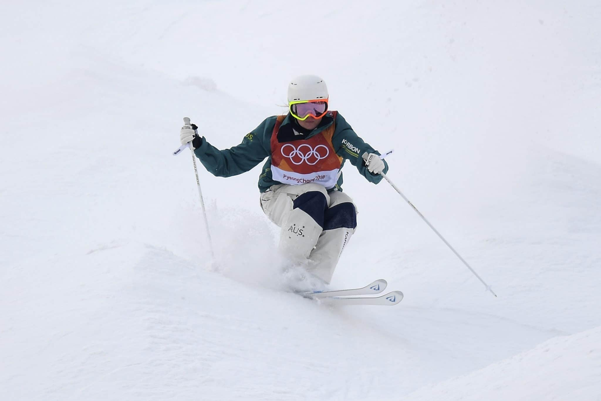 Britteny Cox of Australia competes in the Moguls Qualifying round during the PyeongChang 2018 Winter Olympic Games, at Phoenix Snow Park in PyeongChang, South Korea, Friday, February 9, 2018. Image:: AAP Image/Dan Himbrechts