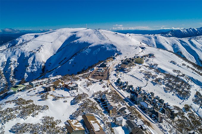 Unlike most Australian resorts, Hotham Village is on top of the mountain. Photo: Hocking/Lave/Hotham Alpine Resort