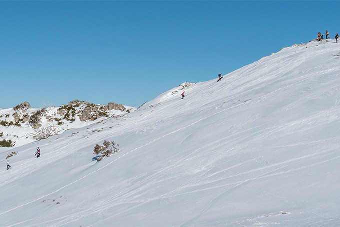 Splitboarding to the top of Mt Stirling