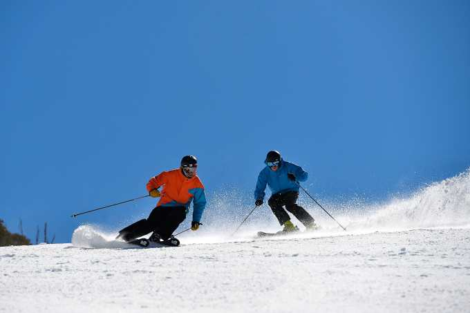 The groomed runs have been a lot of fun in the mornings. Hotham, Sept 19. Photo: Chris Hocking