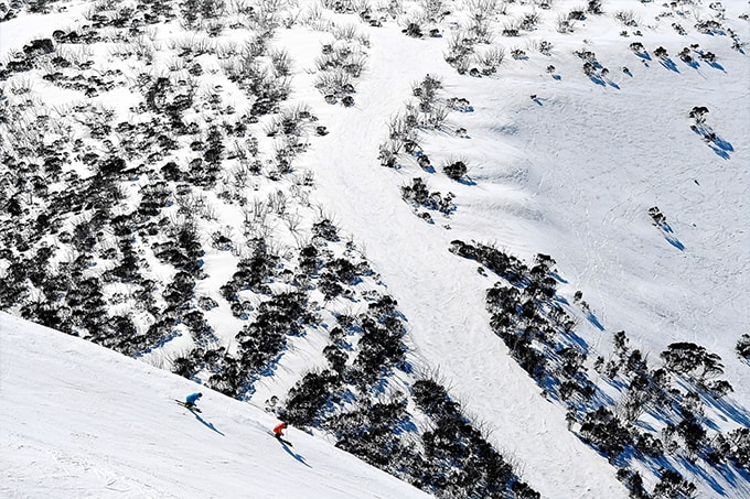 Spring is all about the groomers early and off piste once it softens. All you need are the right skis. Hotham, Sept 18. Photo: Chris Hocking.