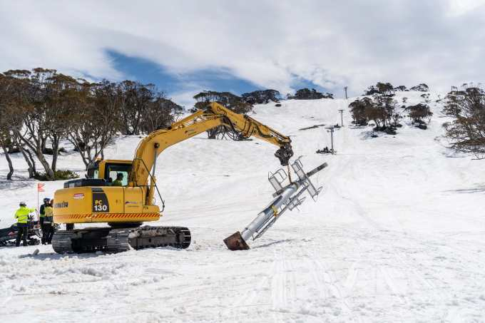 No mucking around! The t-bar towers are out and construction is underway on the new quad chair.