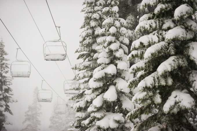 Alpine Meadows this morning after big overnight snowfalls. Photo: Squaw valley Alpine Meadows