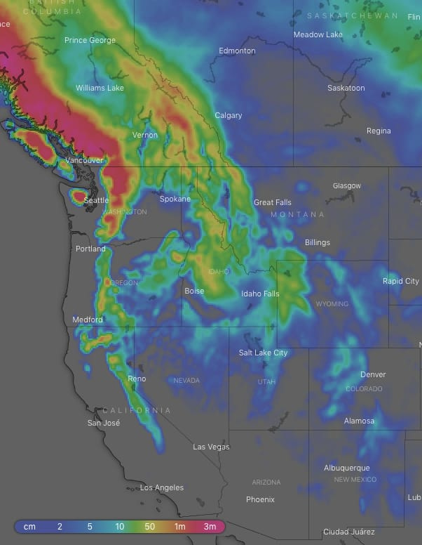 10-day snow accumulations. Source: windy.com