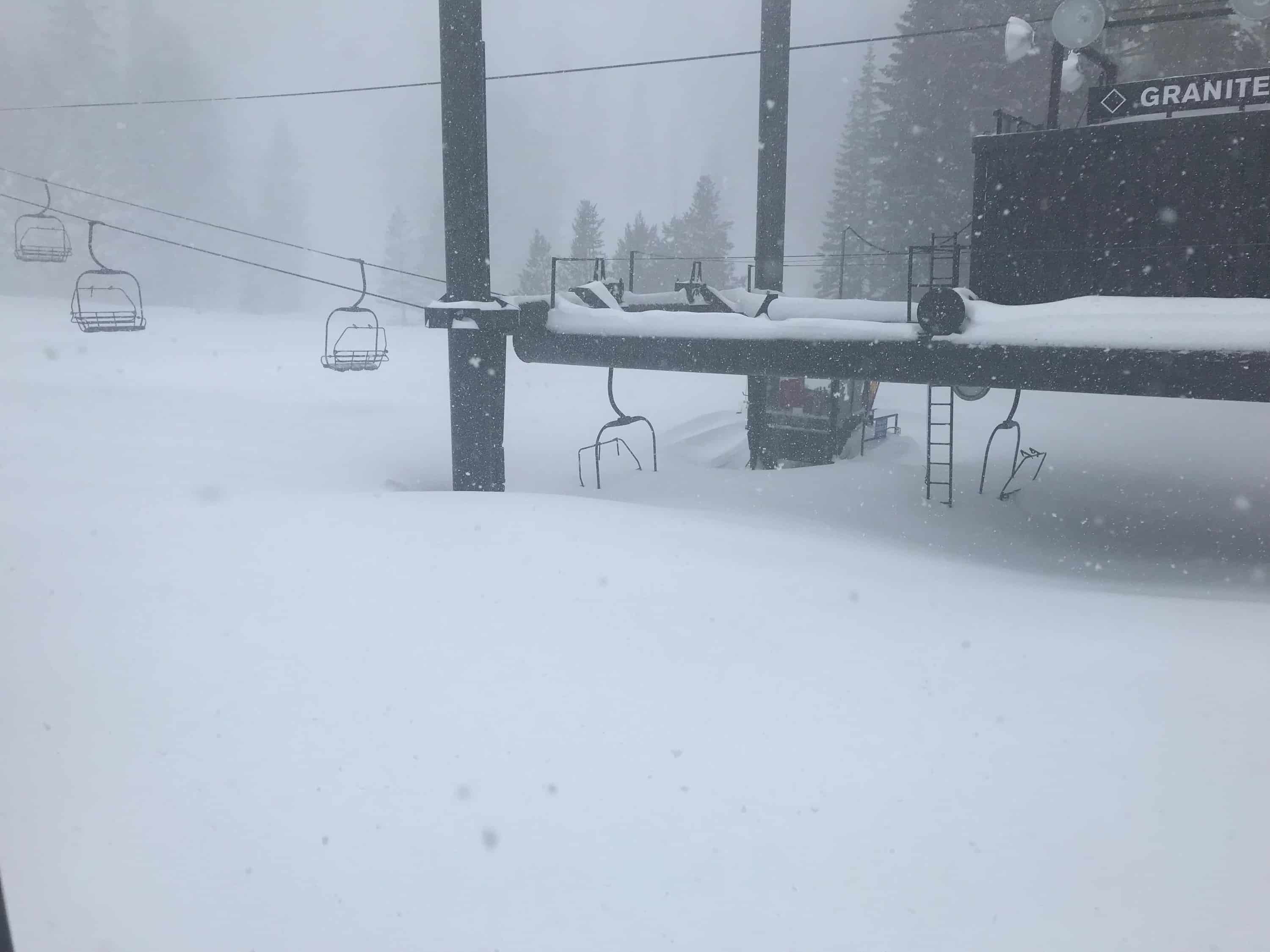 Squaw Snow Report predicted heavy snow, base station of Granite Chief Chair