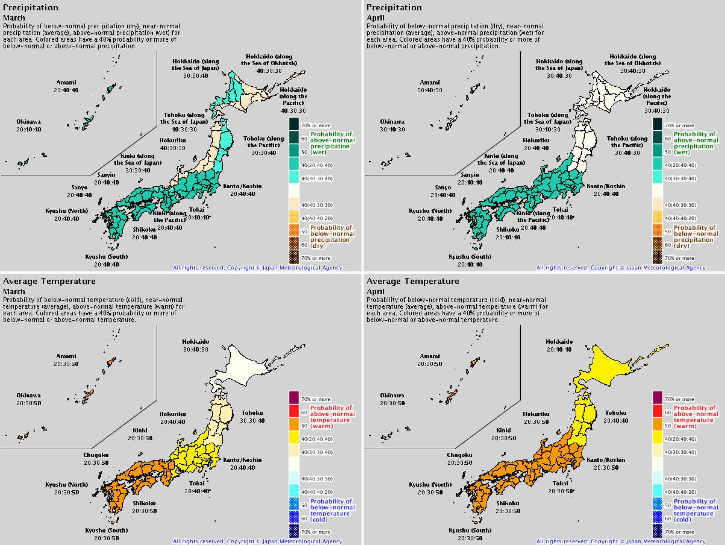 JMA Forecast for the end of the japan ski season 2019