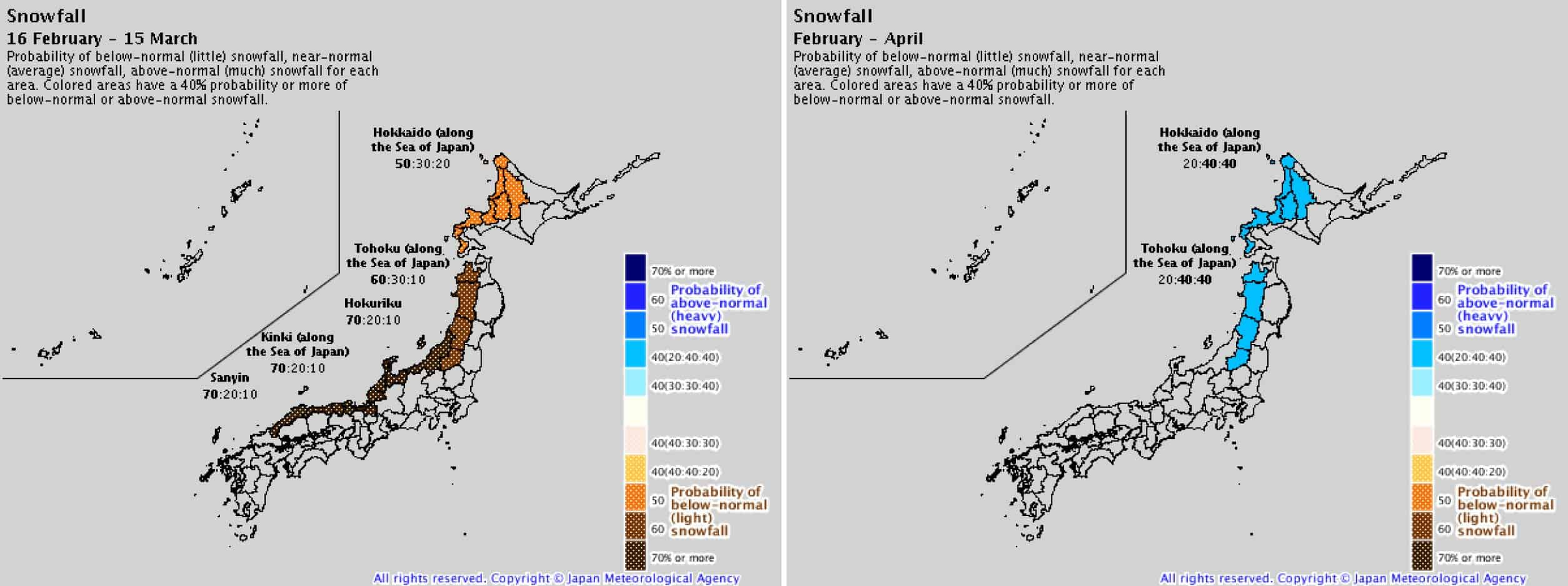 Japanese Meteorological Agency Japan snow season 2019 forecast