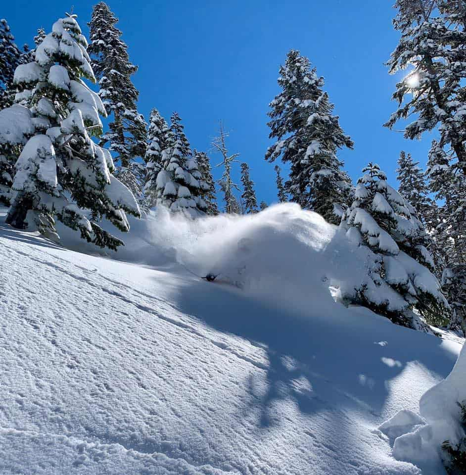 Jessica Sobolowski-Quinn getting buried on Feb 5, Squaw Valley | Mountainwatch