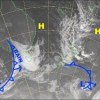 Unfortunately the cold front isn't so cold, and we're in for a grotty day. Source: NZ Met Service (Vandalised by the Grasshopper)