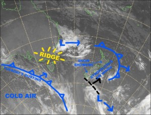 A strong, cold SW flow lies over the country today. Source:: NZ Metservice (vandalised by the Grasshopper)