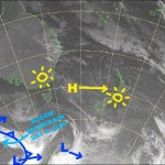 The week of sunshine continues as the high in the Tasman Sea drifts towards us. Source: NZ Metservice (vandalised by the Grasshopper)