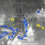 The big bully of a high to the north pushes that poor cold front too far south and we miss out on it's snowfalls. Source: NZ Metservice (vandalised by the Grasshopper)