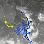 The front sitting on the South Island has almost finished its evil deeds there, but will go on to repeat them on Ruapehu later today. The front just to the west is much colder and will bring a sprinkling of the blessed white stuff to the Southern Lakes. Source: NZ Metservice (vandalised by the Grasshopper)
