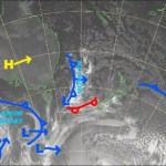All eyes are on the cold front to the far west. Source: NZ Metservice (vandalised by the Grasshopper)