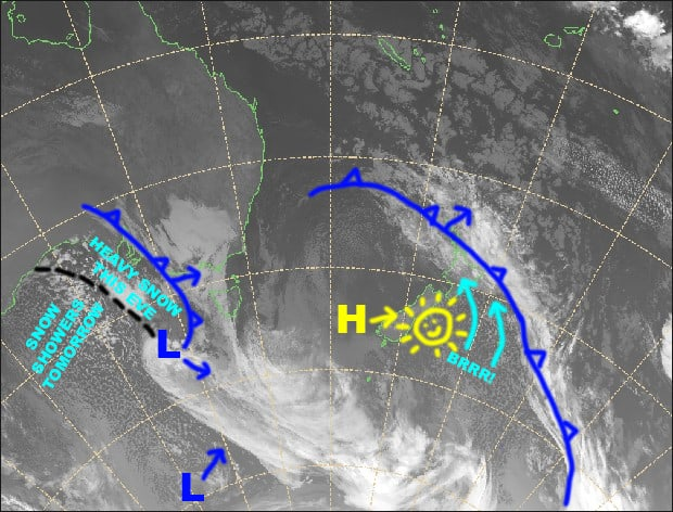 Grasshopper's Australian Forecast,  Saturday, August 17 Sunday,  August 18 – Cold front to drop 10-20cm or more