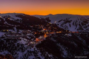Falls Creek Village at sunset.Photo: Falls Creek
