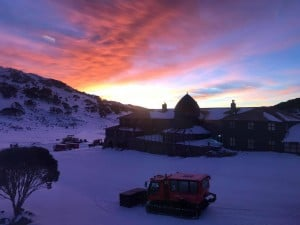 The historic Kosciuszko Chalet at dawn.