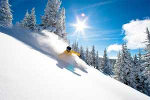 A classic powder day in the aptly named Blue Ski basin at Vail. Awesome. Photo: Vail Resorts