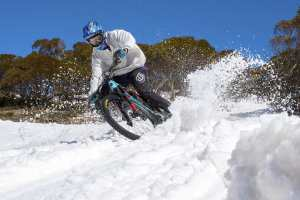 A different experience for Ben McIlroy spraying snow instead of dirt. Image: Matt Rousu