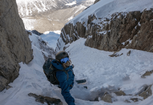 Cody at the top of a not-so-fun looking couloir on Joffre Peak. Photo: Bjarne Salen