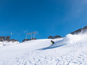 Sneaking in a warm-up lap at perisher yesterday afternoon before today's opening. Photo: Perisher