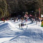Torah, having a run through the Mini-shred park. Photo: Thredbo