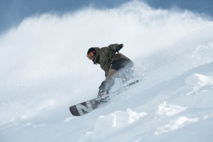 Nate Johnstone, ripping in the Search Series Pow Pow jacket and bib pants. Photo: Dan Warbrick