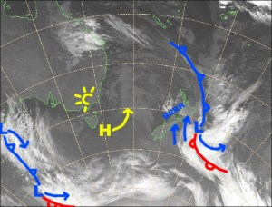 The low to the east will chuck some more snow at Ruapehu today and maintain a strong, cold southerly. Source:: NZ Metservice (vandalised by the Grasshopper)