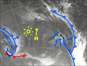 A nice sunny weekend ahead as the high sidles up the Tasman and a grotty looking front approaches from the west. Source:: NZ Metservice (vandalised by the Grasshopper)