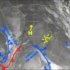 Calm and settled at dawn, but strong, chilly SW winds will develop as that cold front to the south brushes past the country. Source: NZ Metservice (vandalised by the Grasshopper)