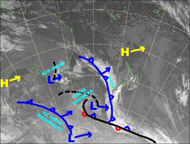 Grasshopper's Australian Forecast Monday September 23 –Monday 23 September – Snow Showers Today, Then Mostly Fine
