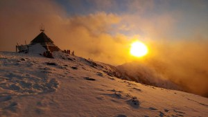 A memorable sunset at Mt Buller's Summit for Marc to celebrate skiing his 100th resort.