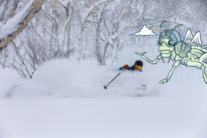 Micah Evangelista skiing in Furano