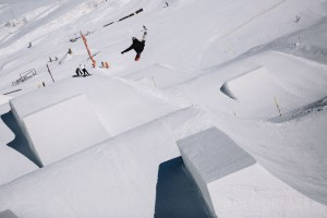 Canadian rider Sebastian Toutant, front 7 on the perfect quarter pipe jumps.