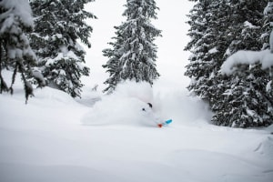 Mitch Reeves, another run of untracked powder in Grand Targhee. Photo: Tony Harrington