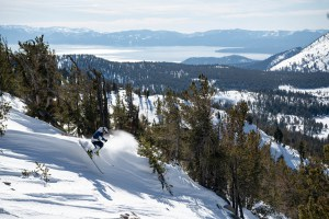 Matt Reardon, a fun line inMt Rose as Lake Tahoe shimmers to the west. Photo: Tony Harrington