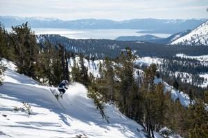 Matt Reardon, a fun line inMt Rose as Lake Tahoe shimmers to the west. Photo: Tony Harrington