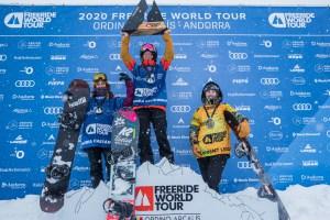 Michaela Davis-Meehan, enjoying top spot on the podium in Ordina-Arcalis/ Photo: @freerideworldtour/©JBERNARD