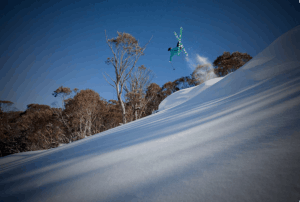 Chris Booth, taking flight in Thredbo on a rare sunny day in August. Photo: Dom Kieler