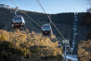 The new eight-person gondola gets you to the top in six minutes. Photo: Thredbo