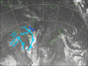 Current satellite image showing the two cold fronts. Source: NZ Metservice (vandalised by the Grasshopper)