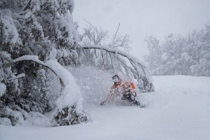 The freshies in Thredbo were best yesterday morning, the snow getting heavier as the day went on. Photo: Thredbo