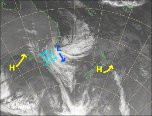 A big happy high today, then that wretched low will bring strong, wet and warm northerlies from Wednesday. Source: NZ Metservice (Vandalised by the Grasshopper)