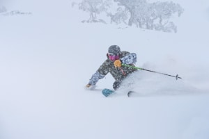 Lee Rolls in Perisher on Monday during the big storm. Photo: Perisher