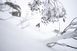 Arkie Elliss at Thredbo on Saturday, the best day of the season. The weekend's party powder may be over, but the snow has set up a great week ahead of fair weather skiers. Photo: Jimmy Williams