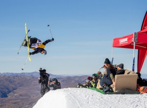 Finn Bilous, men's free ski winner at the park jam today. Photo: Camilla Rutherford/ Winter Games NZ