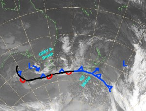 The cold front won't do much for the Southern Lakes, but will dust up Canterbury with 5-10cm. Beautiful, clear winter days will follow, with a tonne of snowmaking to be done. Source: NZ MetService (Vandalised by the Grasshopper)