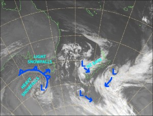 The monstrous, complex low-pressure system to our south may end up being the snowstorm of the season. Source: Metservice.com (vandalised by the Grasshopper)